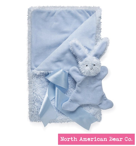 Smushy Bunny - Blue blanket with crinkle by North American Bear Co. (6247)