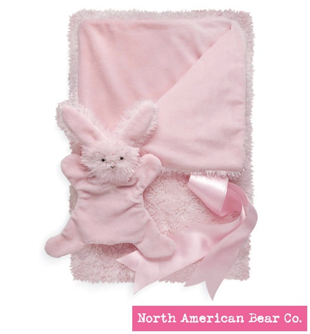 Smushy Bunny - Pink blanket with crinkle by North American Bear Co. (6243)