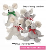 "Chrismouse 6"" Grey w/ Candy cane Bow Squeaker by North American Bear Co. (8328-gcc)"