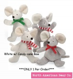 "Chrismouse 6"" White w/ Candy cane Bow Squeaker by North American Bear Co. (8328-wcc)"