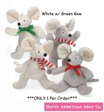 "Chrismouse 6"" White w/ Green Bow Squeaker by North American Bear Co. (8328-wg)"