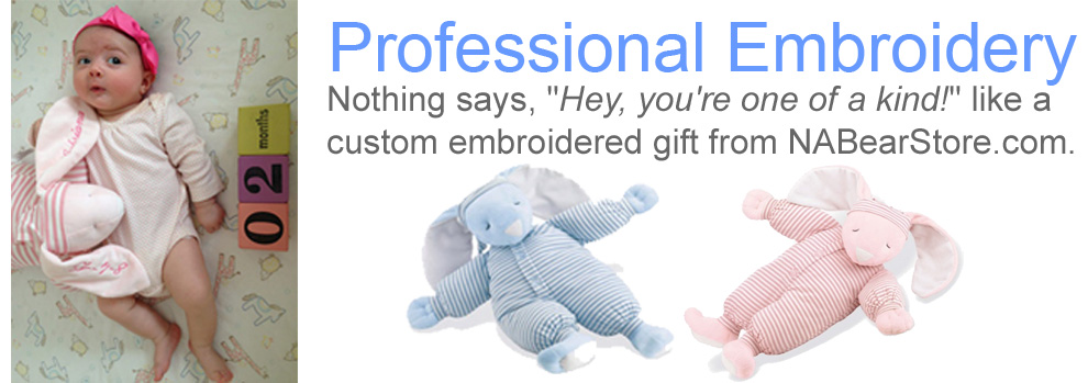 Personalized baby gifts by interest north americna bear co learn about our exclusive custom embroidery here negle Choice Image